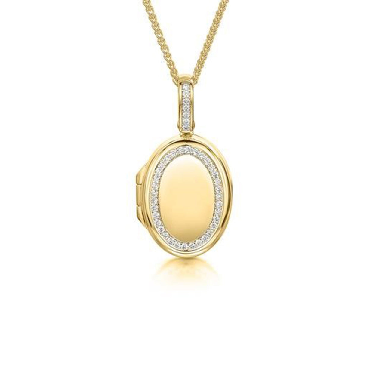 18ct Yellow Gold Oval Locket-Hamilton & Inches