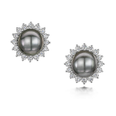 Pearl and Diamond Stud Cluster Earrings in 18ct White Gold-Hamilton & Inches