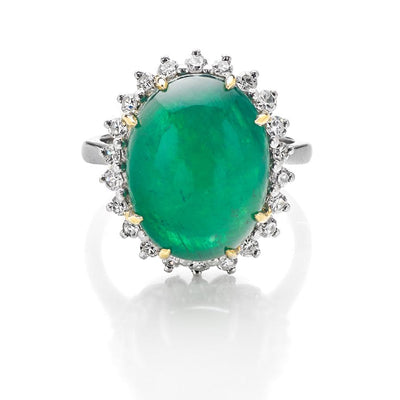 Cabochon Emerald and Diamond Cluster Ring - Hamilton & Inches