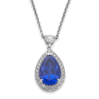 18ct White Gold Tanzanite & Diamond Cluster Pendant - Hamilton & Inches