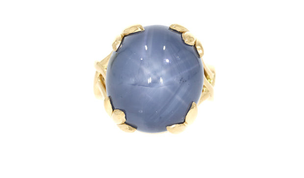 22ct Scottish Gold Cabochon Star Sapphire Ring-Hamilton & Inches