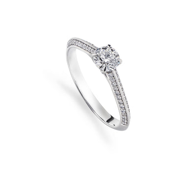 Brilliant-Cut Diamond Solitaire Ring with Double Pave Shoulders - Hamilton & Inches