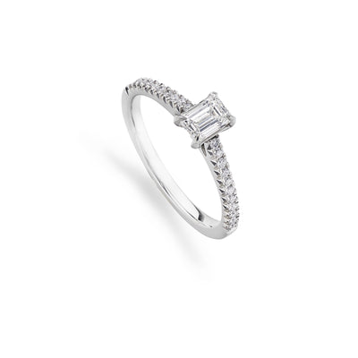 Emerald-Cut Diamond Solitaire Ring with Diamond Set Shoulders - Hamilton & Inches