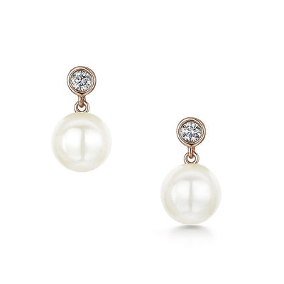 Diamond and Cultured Akoya Pearl Drop Earrings in 18ct Rose Gold-Hamilton & Inches