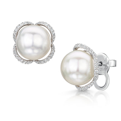 South Sea Pearl and Diamond Petal Studs in 18ct White Gold - Hamilton & Inches