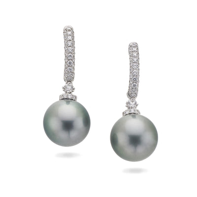 Diamond and Pearl Hoop Earrings in 18ct White Gold - Hamilton & Inches