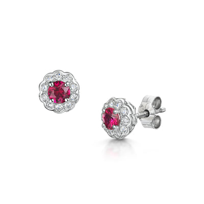 Ruby and Diamond Cluster Earrings in 18ct White Gold - Hamilton & Inches