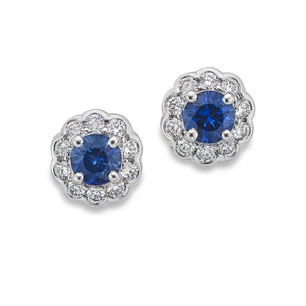 Sapphire & Diamond Cluster Earrings in White Gold - Hamilton & Inches