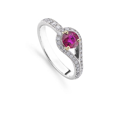 Round Brilliant-Cut Ruby & Diamond Looped Cluster Ring - Hamilton & Inches