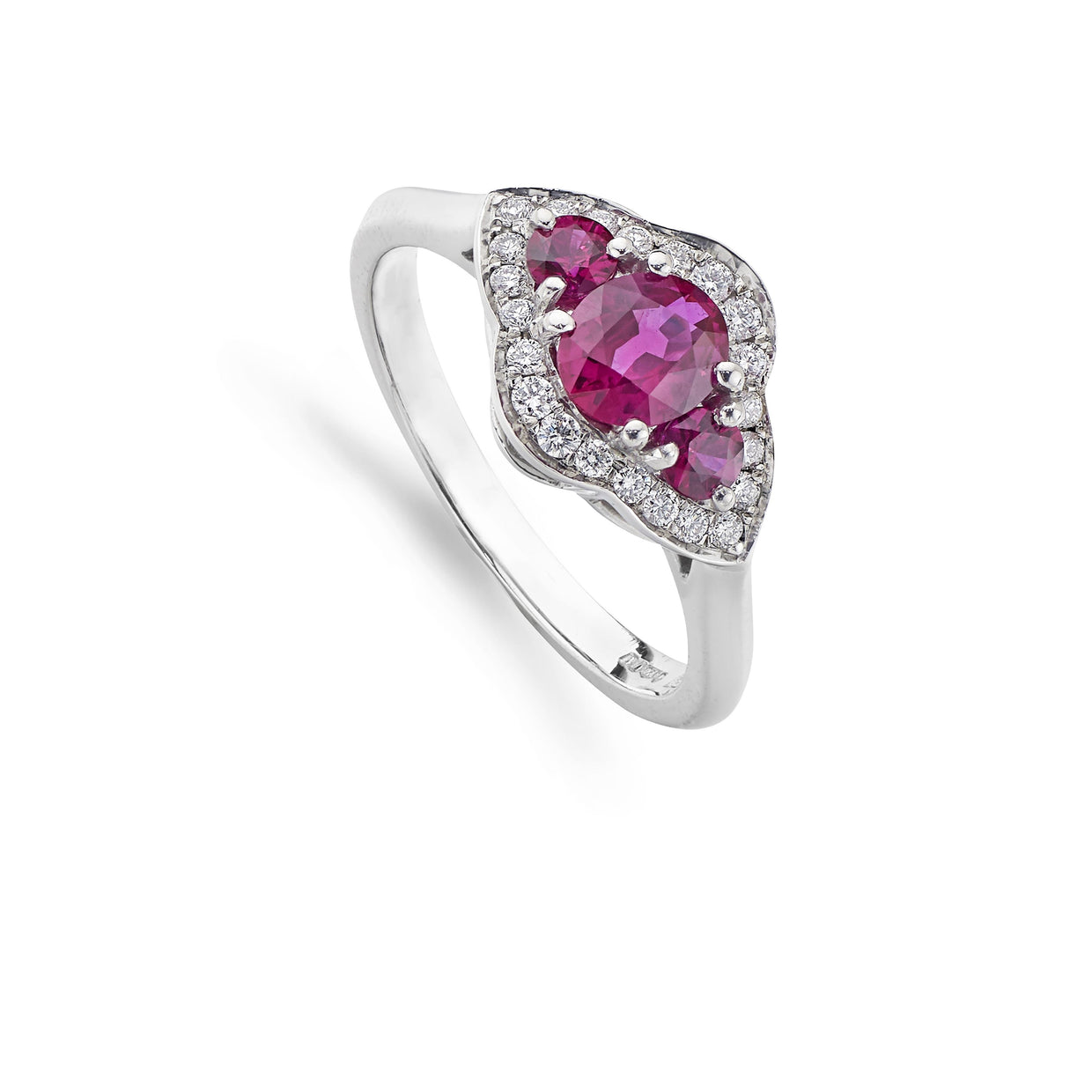 Ruby & Diamond Cluster Engagement Ring in Platinum-Hamilton & Inches