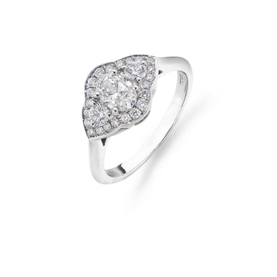 Cluster Diamond Engagement Ring in Platinum-Hamilton & Inches
