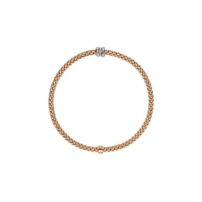 Fope Prima Flex-It Bracelet with Diamond Rondel in 18ct Rose Gold-Hamilton & Inches