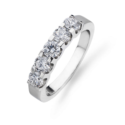 Half Hoop 5 Stone Diamond & Platinum Eternity Ring - Hamilton & Inches
