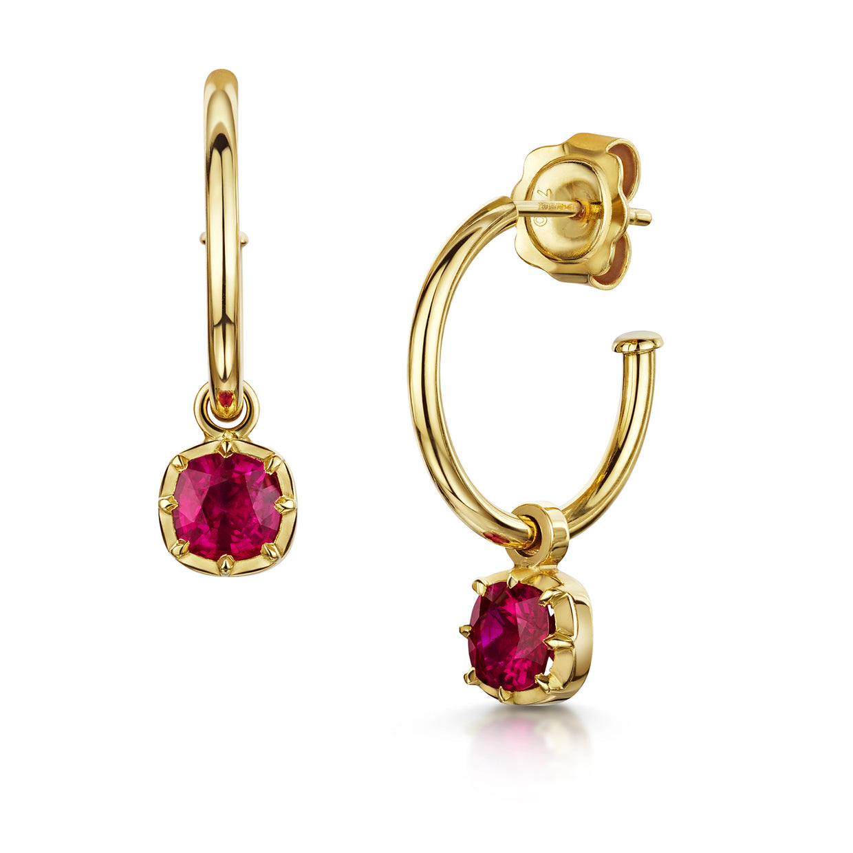 Gold Hoops with Ruby Drop in 18ct Yellow Gold-Hamilton & Inches