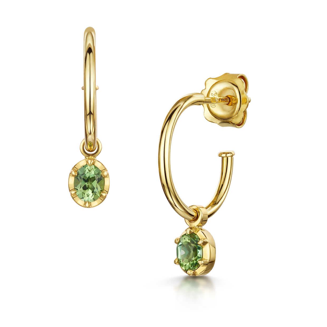 Tourmaline detachable hoops in 18ct yellow gold-H & I-Hamilton & Inches