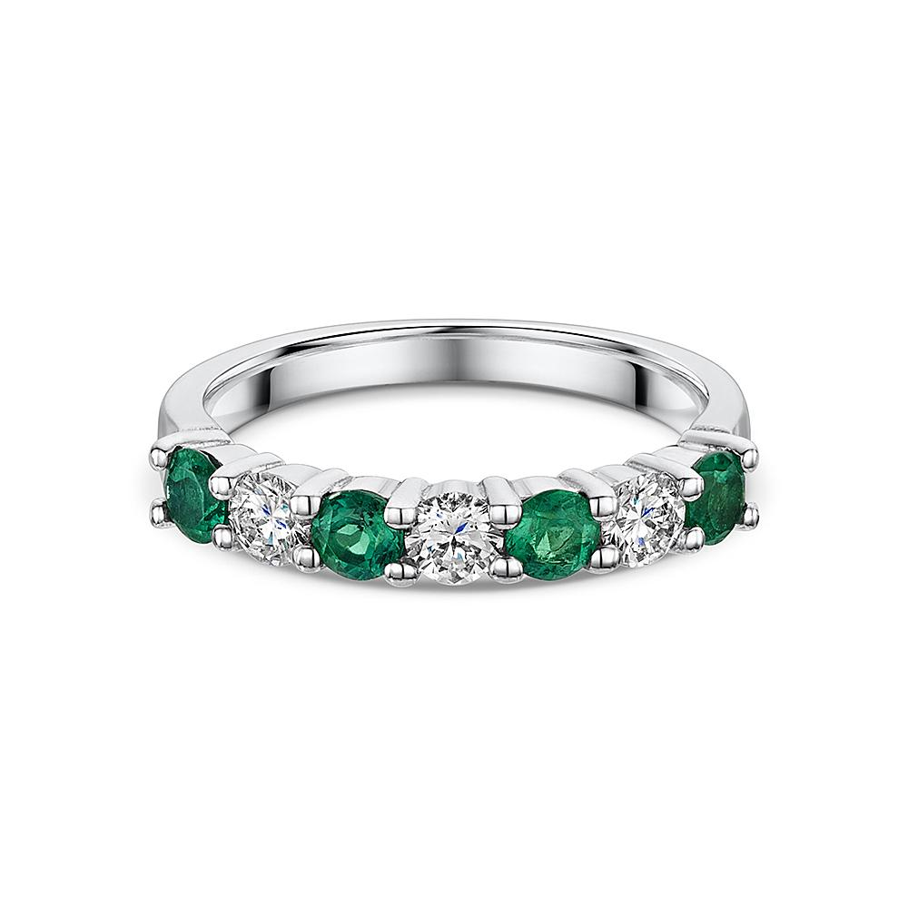 Half Hoop Emerald and Diamond Eternity Ring in 18ct White Gold - Hamilton & Inches