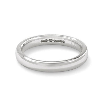 Platinum 3mm classic court wedding band. - Hamilton & Inches