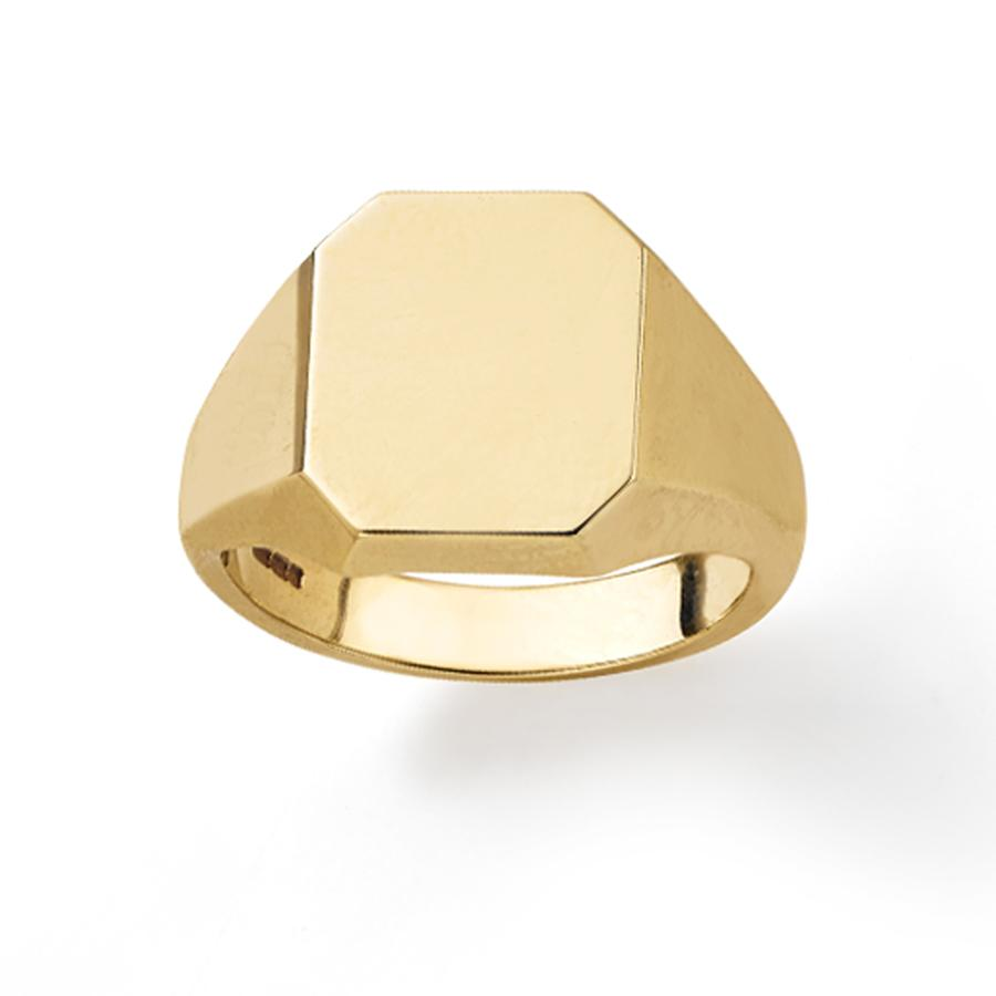 Octagonal Signet Ring in 9ct Yellow Gold - Hamilton & Inches