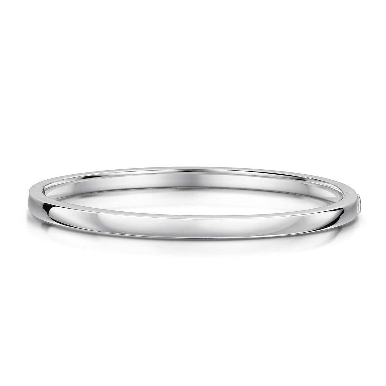 Solid Flat Bangle in 18ct White Gold-Hamilton & Inches