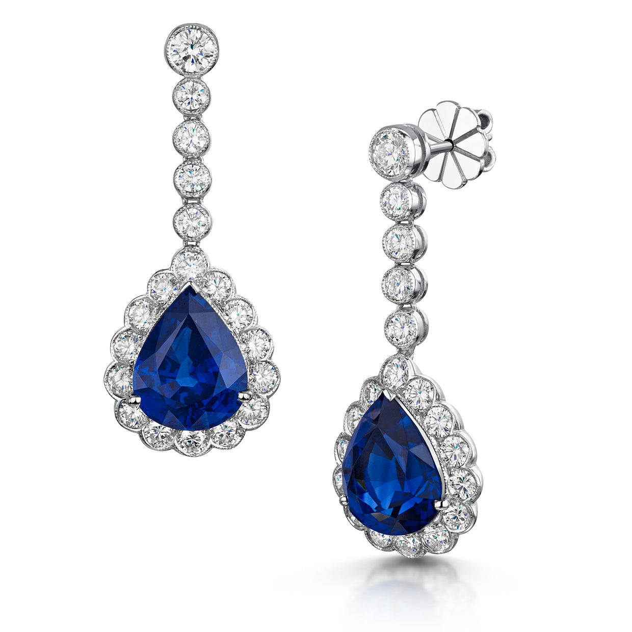 Sapphire and Diamond Drop Earrings in 18ct White Gold-Hamilton & Inches