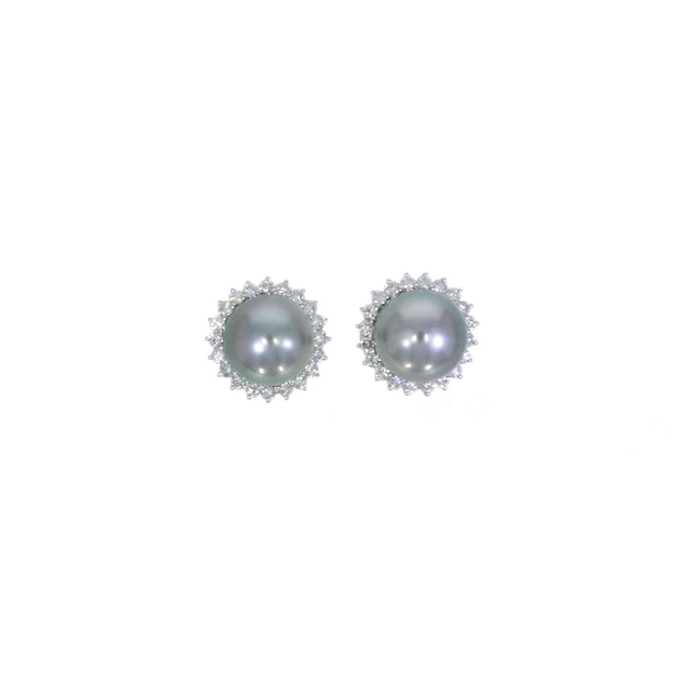 Tahitian Pearl and Diamond Cluster Earrings