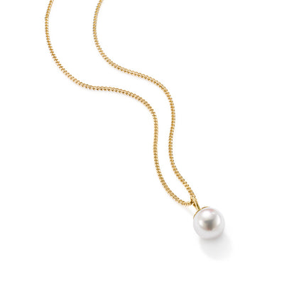 Single Cultured Pearl Pendant in 18ct Yellow Gold - Hamilton & Inches