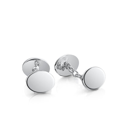 Plain Cufflinks in Sterling Silver - Hamilton & Inches