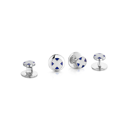 Saltire Dress Studs in Sterling Silver and Enamel - Hamilton & Inches