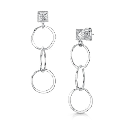 Hamilton & Inches Sterling Silver Round Chain Link Earrings