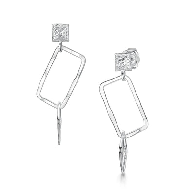 Hamilton & Inches Sterling Silver Square Chain Link Earrings-Hamilton & Inches