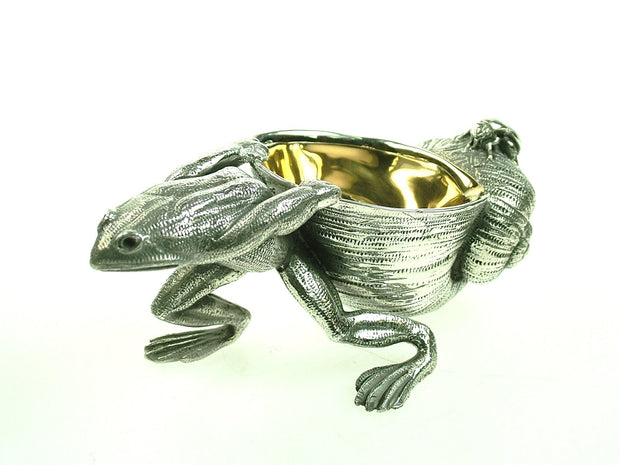Frog and Snail Salt Cellar in Stainless Steel