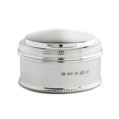 Sterling Silver Circular Box with Bead Edge