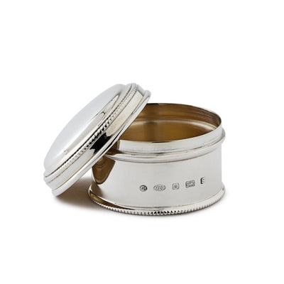 Small Sterling Silver Circular Box with Bead Edge-Hamilton & Inches