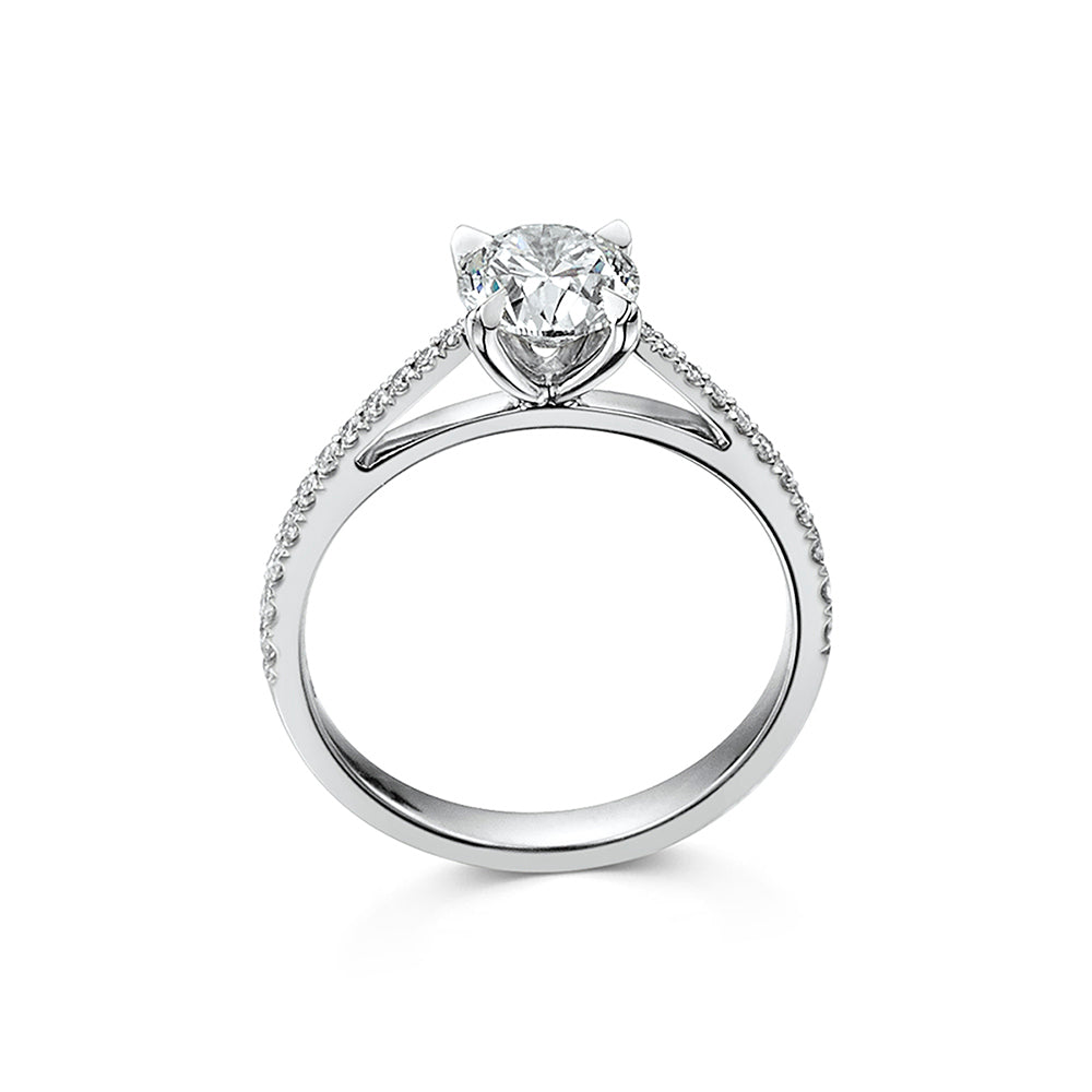 The Engagement Collection: Brilliant-Cut 1.01ct 4 Claw Solitaire Ring With Diamond Shoulders in Platinum