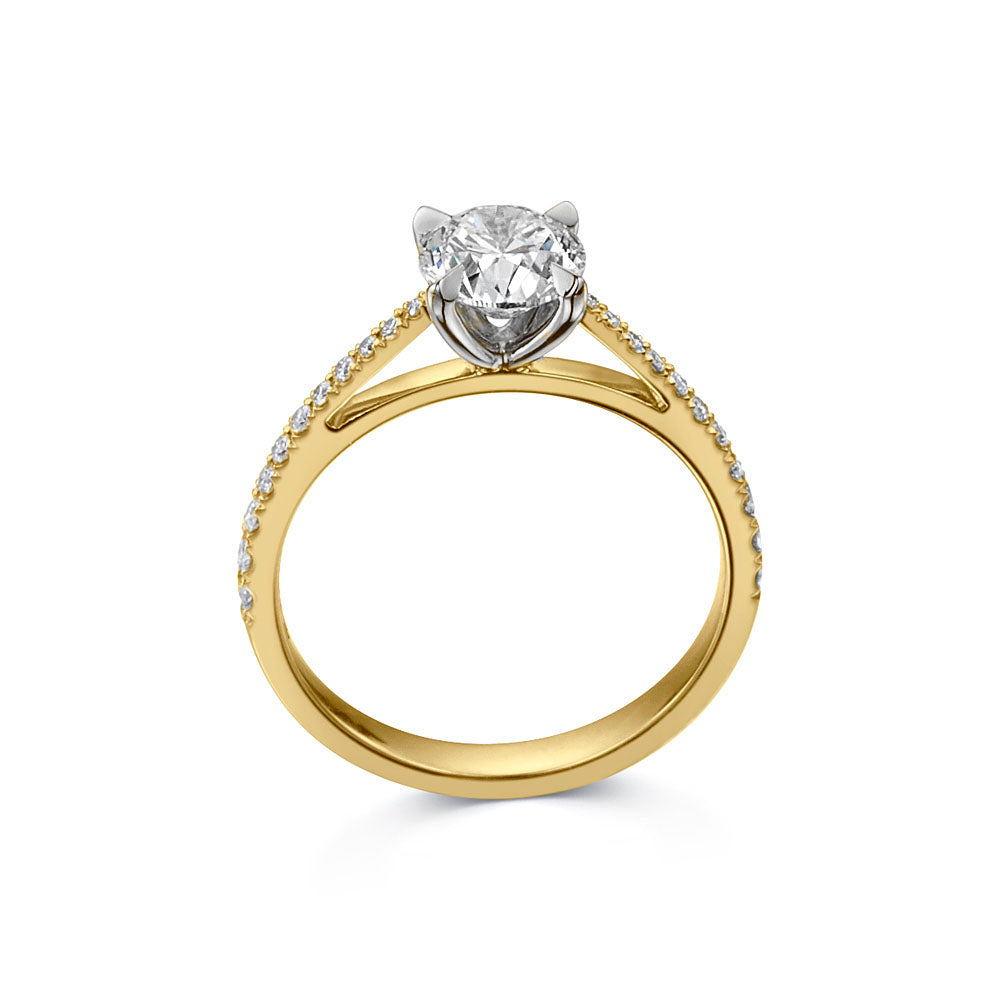 The Engagement Collection: Brilliant-Cut 0.90ct 4 Claw Solitaire Ring With Diamond Shoulders in 18ct Yellow Gold