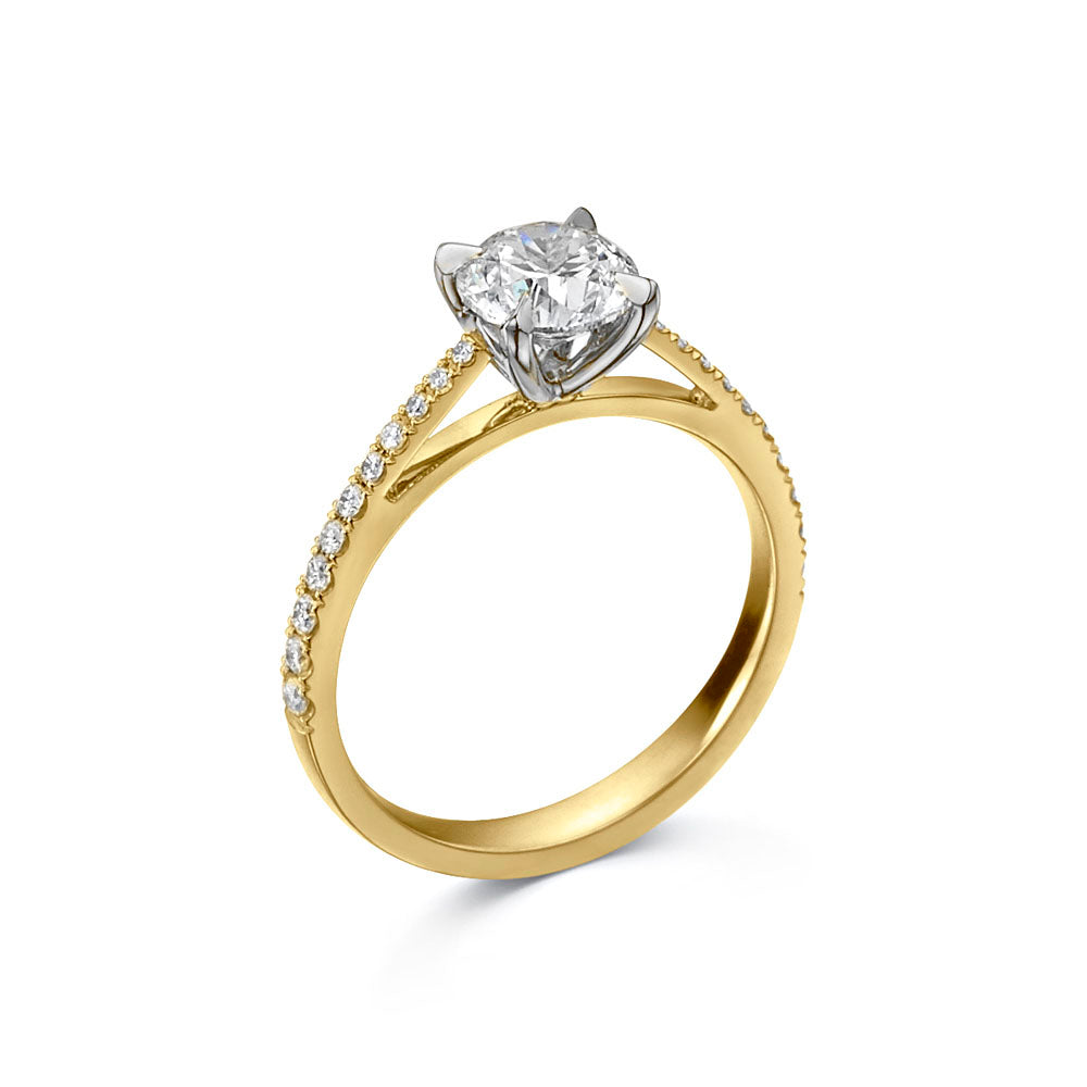 The Engagement Collection: Brilliant-Cut 0.50ct 4 Claw Solitaire Ring with Diamond Shoulders in 18ct Yellow Gold