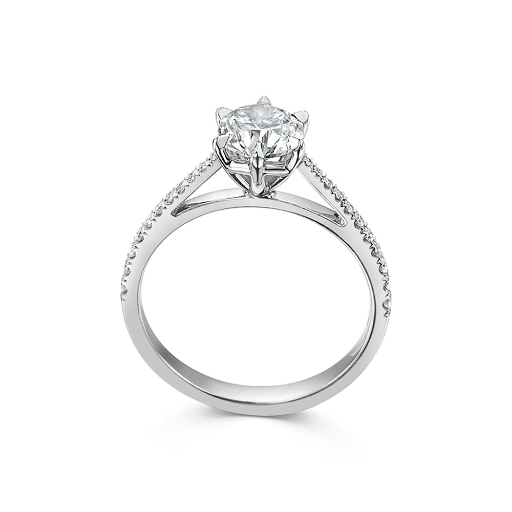 The Engagement Collection: Brilliant-Cut 1.00ct 6 Claw Solitaire Ring with Diamond Shoulders in Platinum
