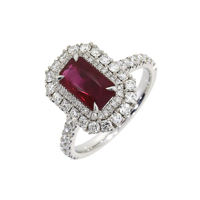 Ruby and Diamond Cluster Ring in Platinum-Hamilton & Inches