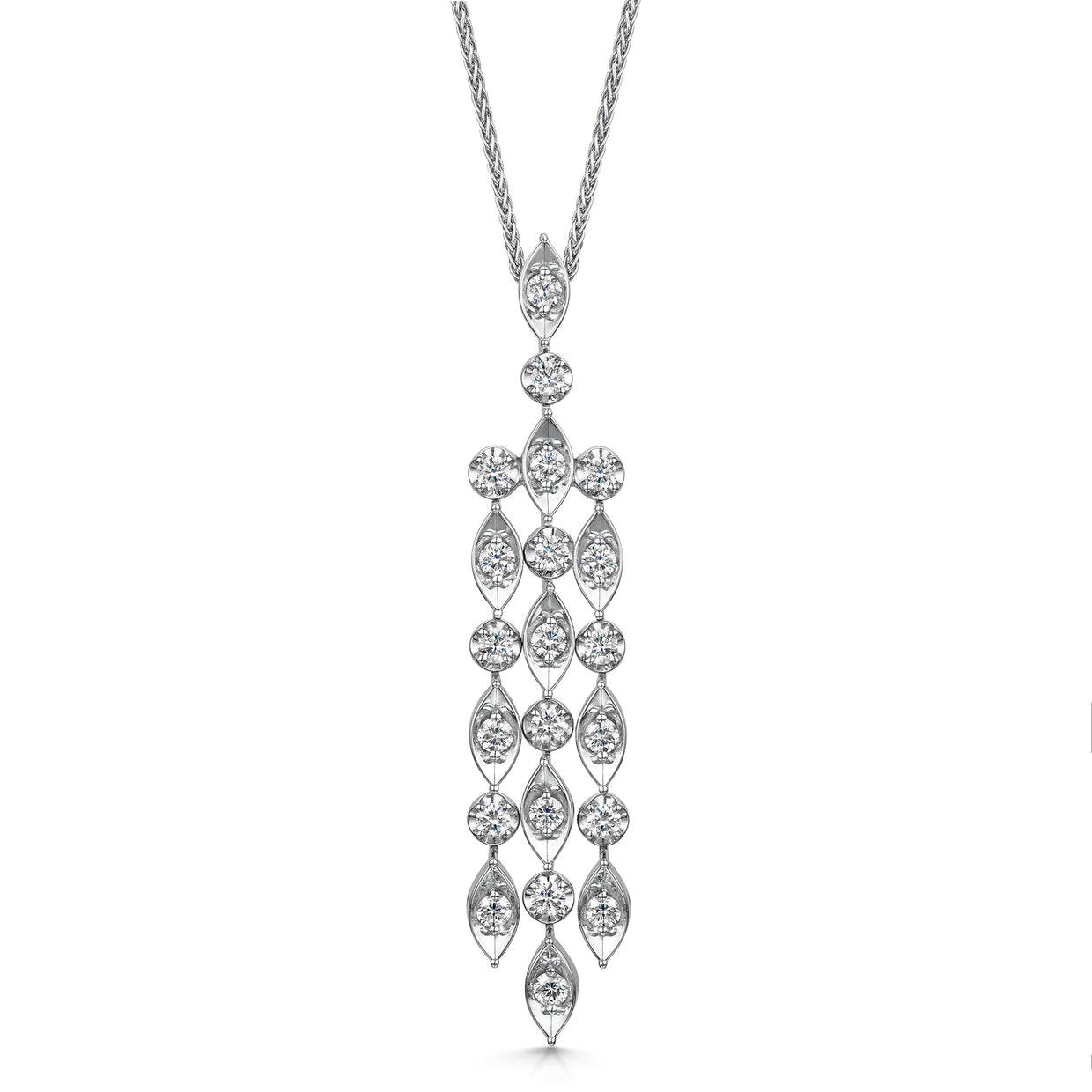 Diamond Chandelier Pendant in 18ct White Gold-H & I-Hamilton & Inches