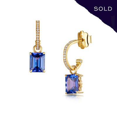 Scottish Gold Collection: Tanzanite Detachable Hoop Earrings-Hamilton & Inches