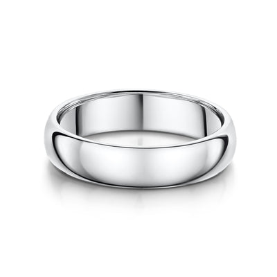 5mm D-Shaped Wedding Ring in 18ct White Gold - Hamilton & Inches