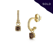 Scottish Gold Collection: Brown Diamond Detachable Hoop Earrings - Hamilton & Inches