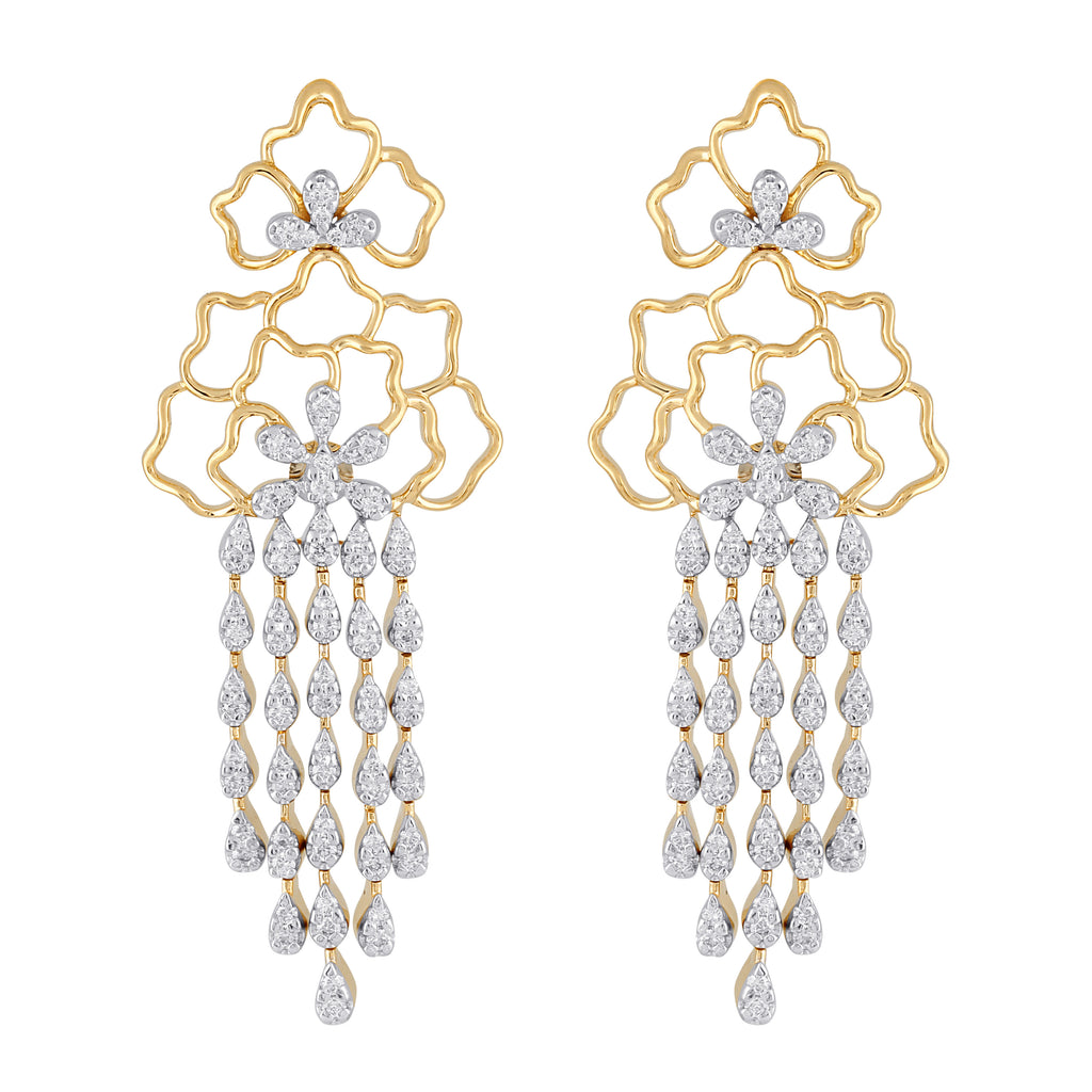 Freeflowing Cascade Diamond Earrings