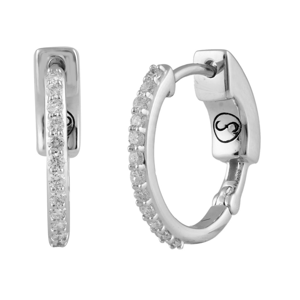Circled Rollercoaster Diamond Earrings