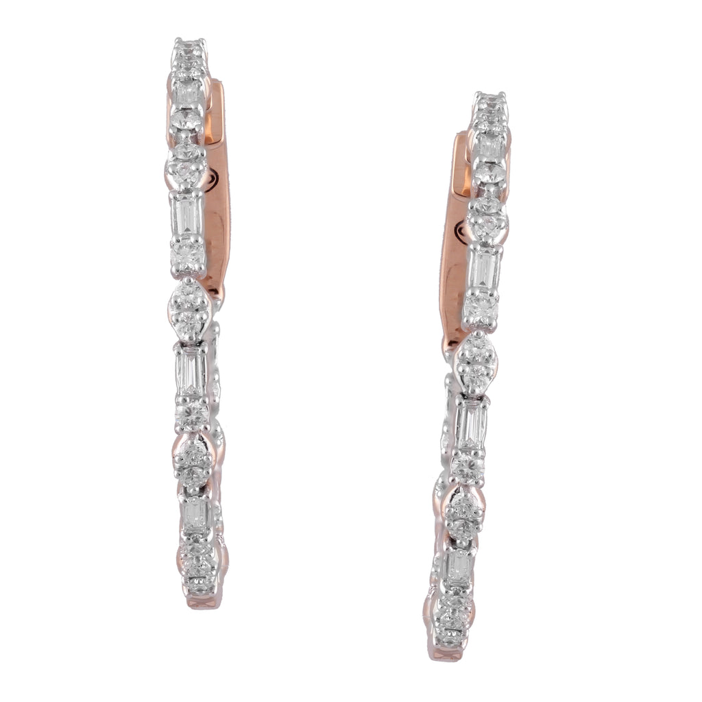 Circled Carved Diamond Earrings