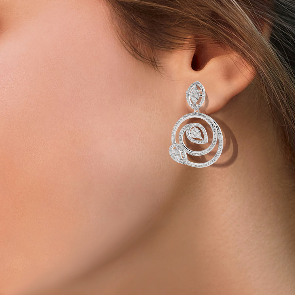 One Spiral Diamond Earrings