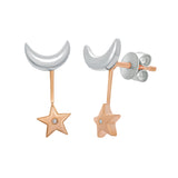 Star And Crescent Diamond Earrings
