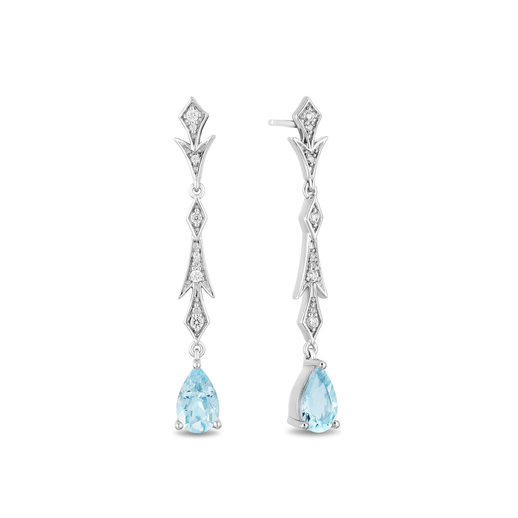 Elsa Chandalier Earrings with 1/5 cttw diamond and Aquamarine Briolletes