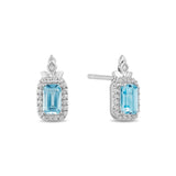 Elsa Earrings with Diamonds and Sky Blue Topaz