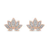 Jasmine Lotus Earring With 1/10 Cttw Diamonds